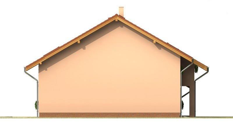 Pohľad 2. - Presvetlený dom s izbou na prízemí a garážou.