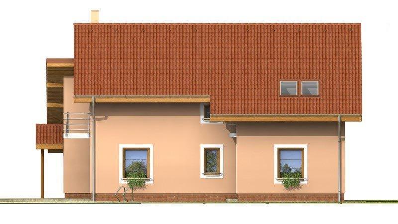 Pohľad 3. - Presvetlený dom s izbou na prízemí a garážou.
