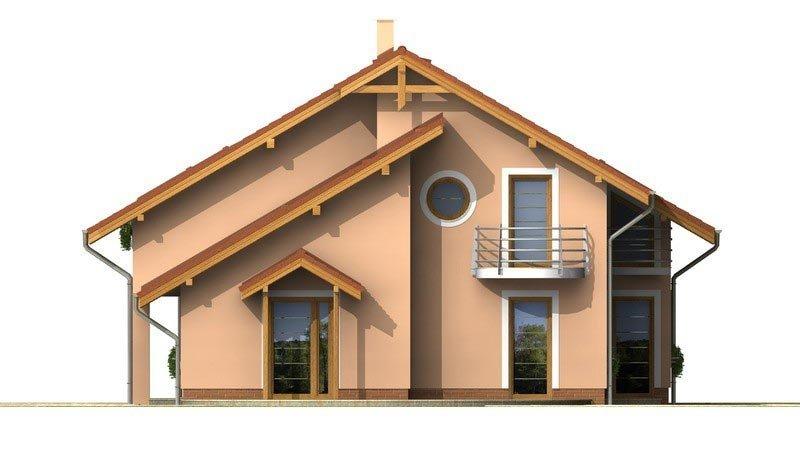 Pohľad 4. - Presvetlený dom s izbou na prízemí a garážou.