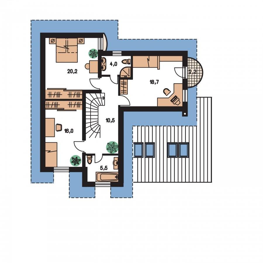 Pôdorys Poschodia - Podmaňujúci dom s garážou
