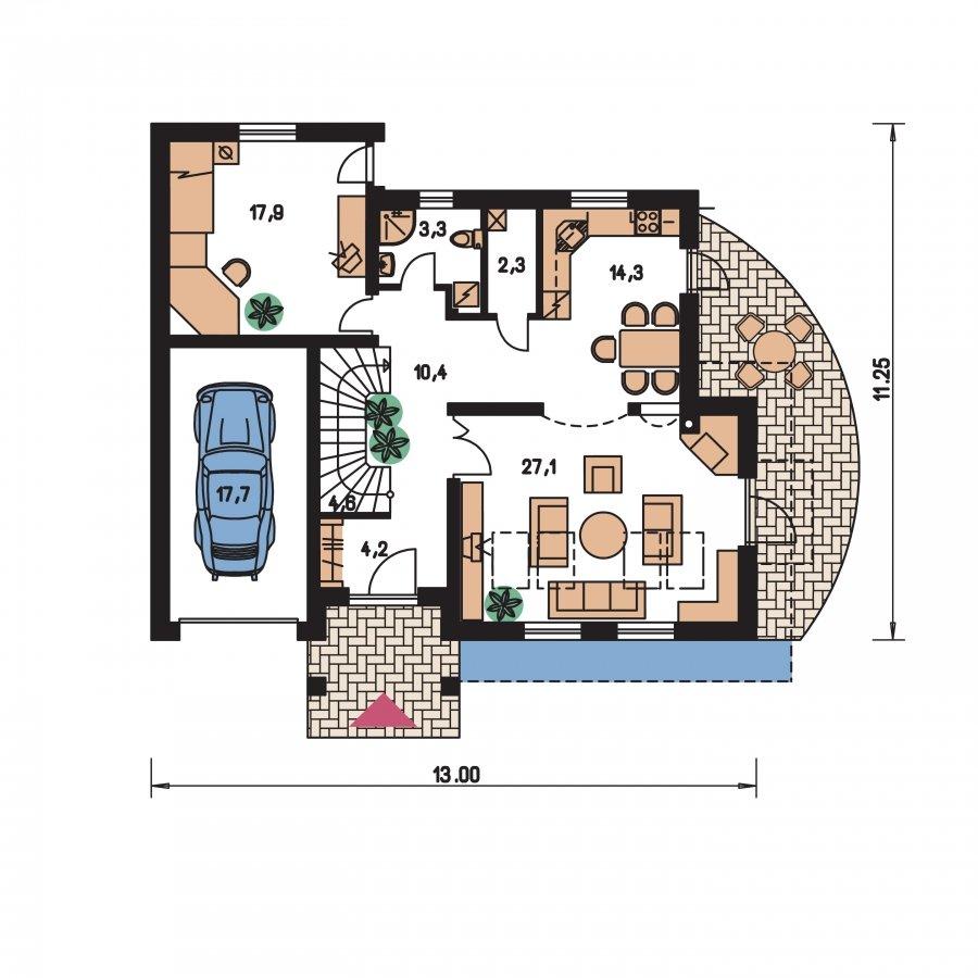 Pôdorys Prízemia - Podmaňujúci dom s garážou