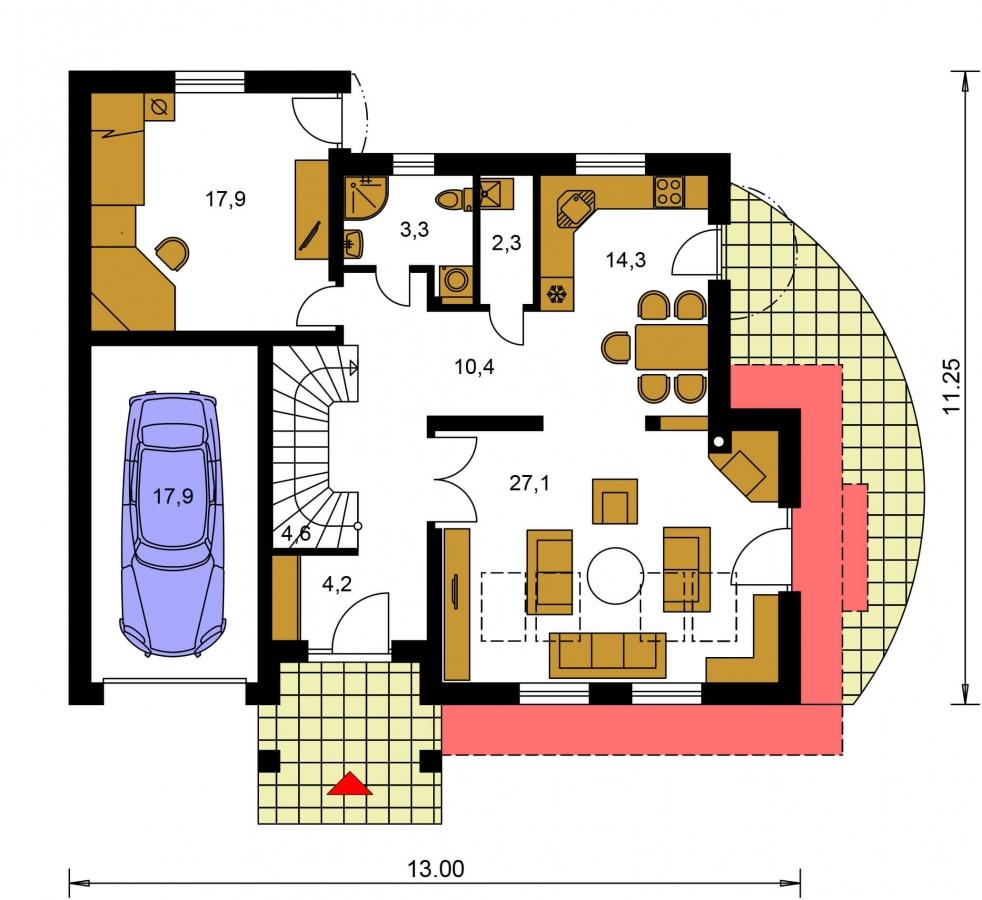 Pôdorys Prízemia - Presvetlený dom s izbou na prízemí a garážou.