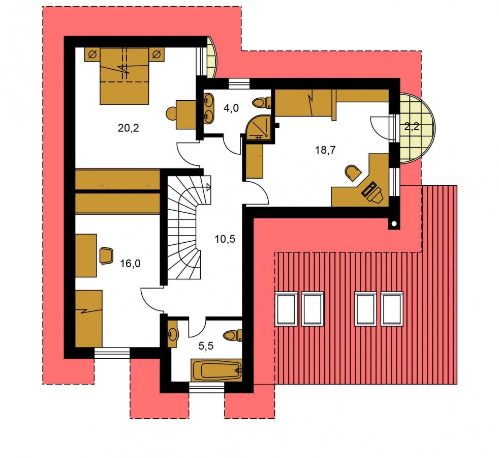 Pôdorys Poschodia - Presvetlený dom s izbou na prízemí a garážou.