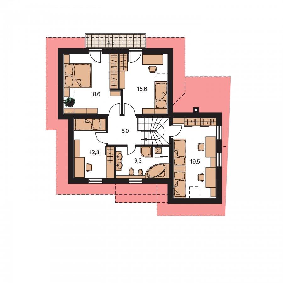 Pôdorys Poschodia - Okúzlujúci dom s vonkajším krbom a garážou