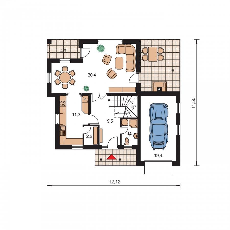 Pôdorys Prízemia - Okúzlujúci dom s vonkajším krbom a garážou