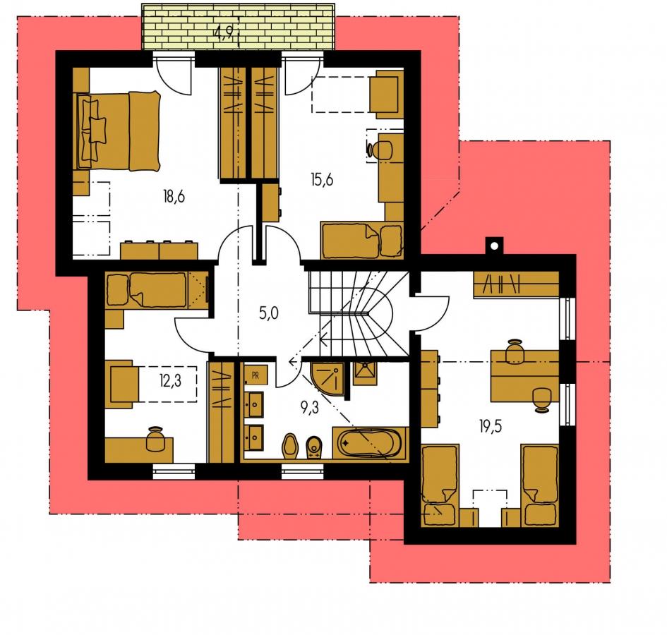 Pôdorys Poschodia - Okúzlujúci dom s vonkajším krbom a garážou.