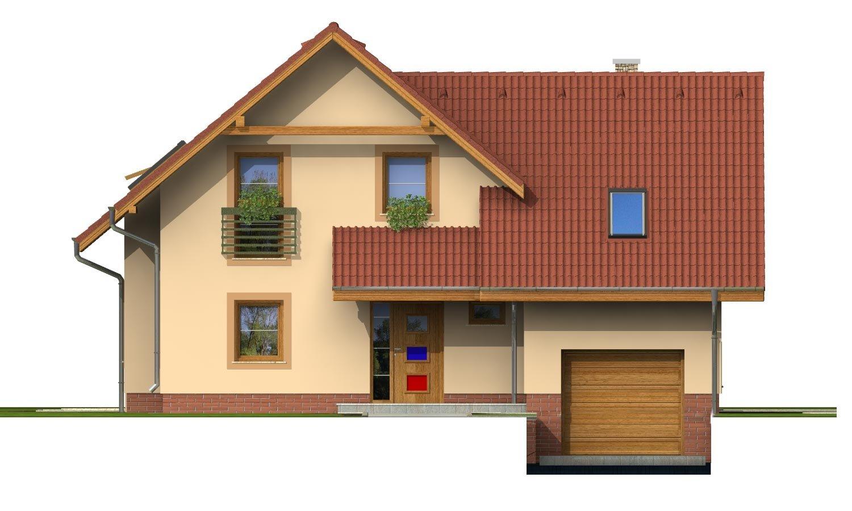 Pohľad 1. - Okúzlujúci dom s vonkajším krbom a garážou.