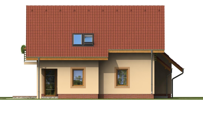 Pohľad 2. - Okúzlujúci dom s vonkajším krbom a garážou.