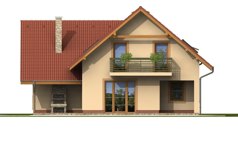 Pohľad 3. - Okúzlujúci dom s vonkajším krbom a garážou.