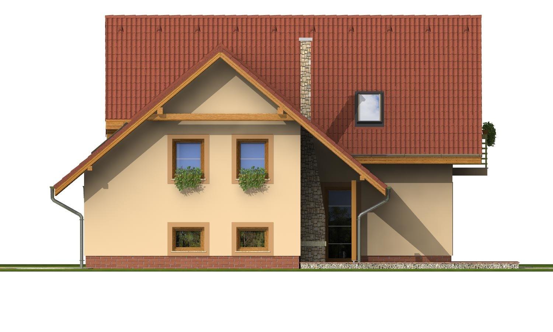 Pohľad 4. - Okúzlujúci dom s vonkajším krbom a garážou.
