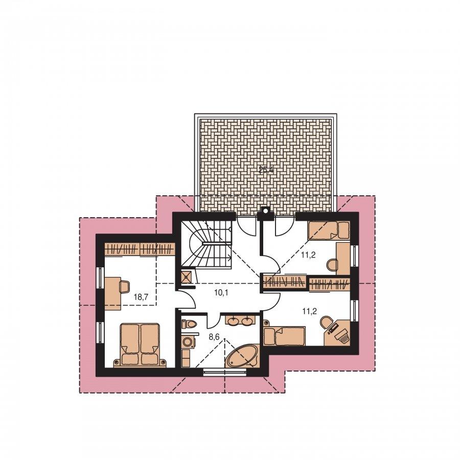 Pôdorys Poschodia - Dom s veľkou terasou na poschodí a garážou