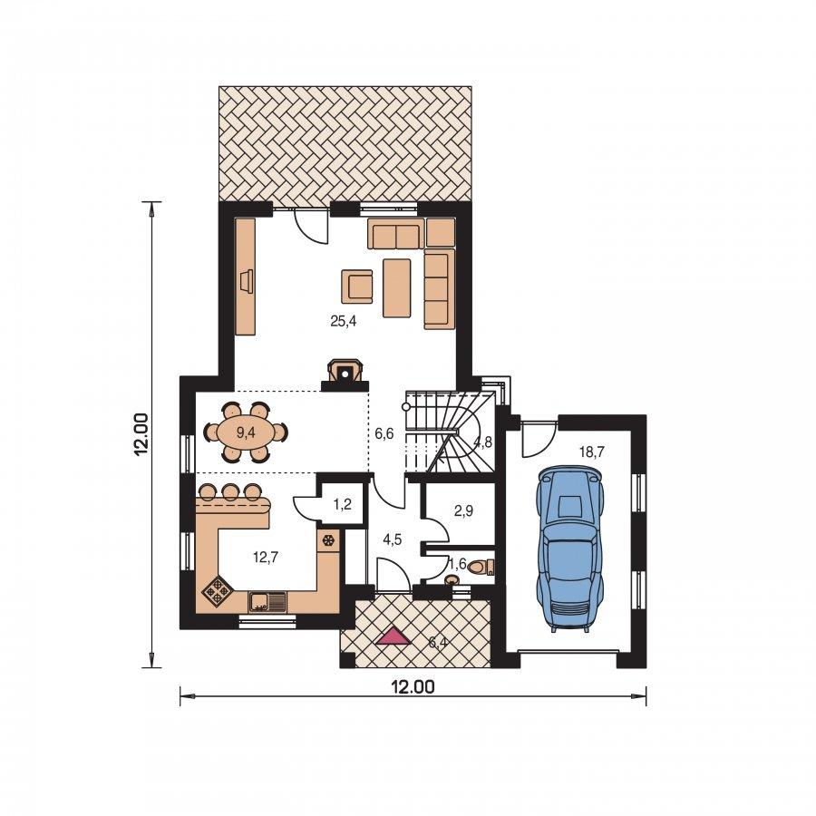 Pôdorys Prízemia - Dom s veľkou terasou na poschodí a garážou