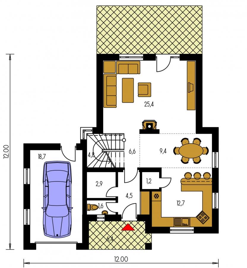 Pôdorys Prízemia - Dom s veľkou terasou na poschodí a garážou.