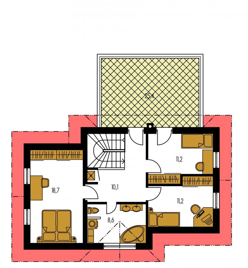 Pôdorys Poschodia - Dom s veľkou terasou na poschodí a garážou.