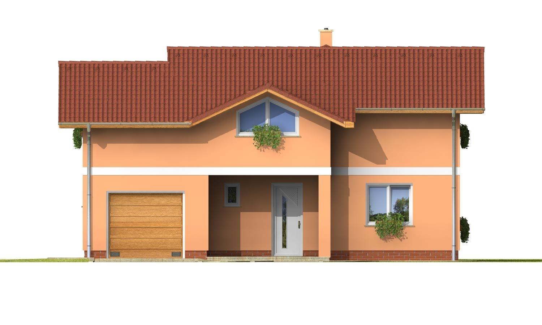Pohľad 1. - Dom s veľkou terasou na poschodí a garážou.