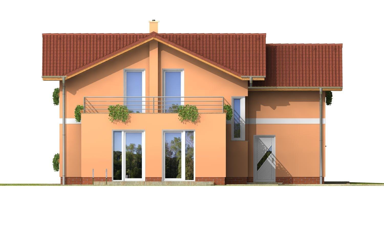 Pohľad 3. - Dom s veľkou terasou na poschodí a garážou.