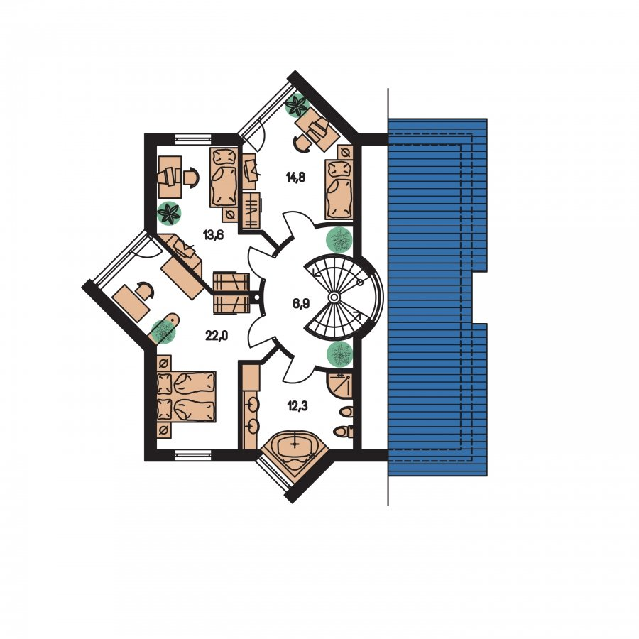Pôdorys Poschodia - Úžasný moderný rodinný dom s garážou
