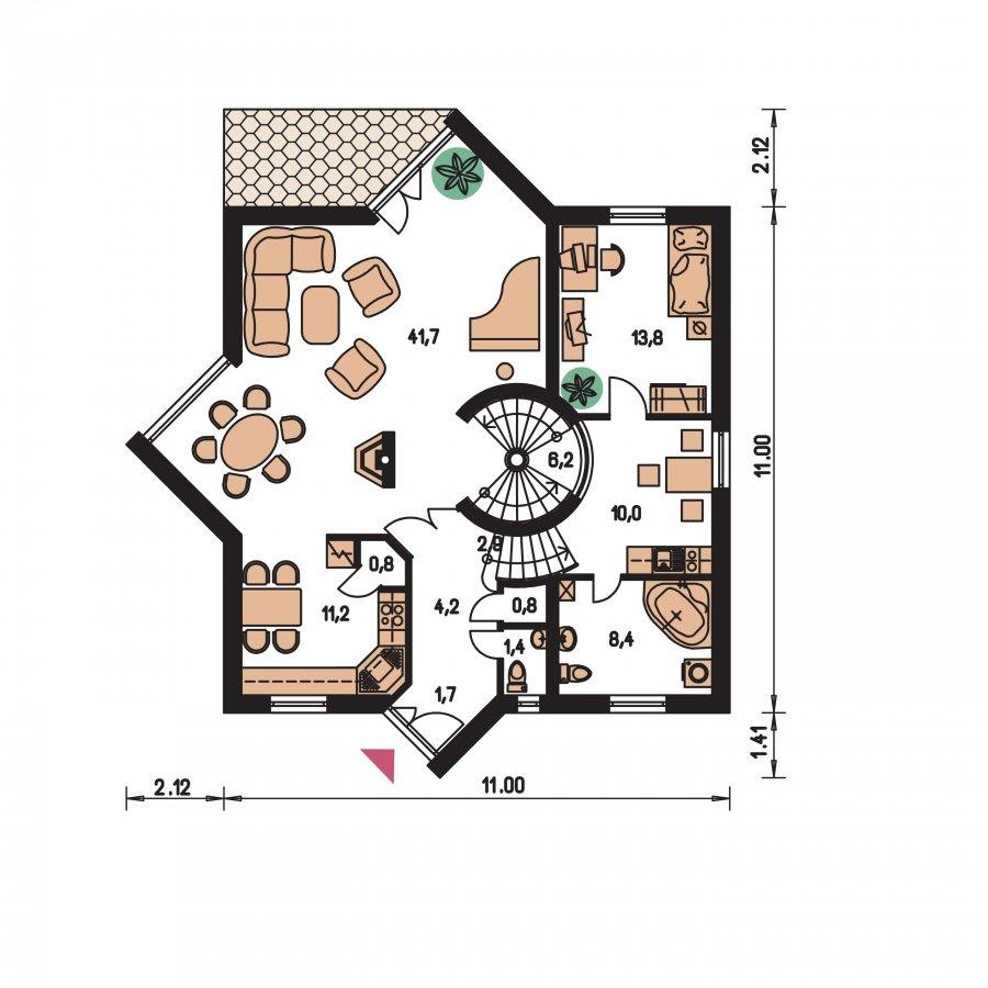 Pôdorys Prízemia - Úžasný moderný rodinný dom s garážou