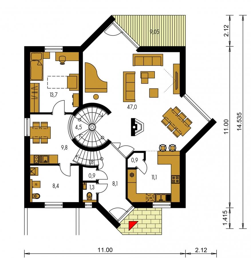 Pôdorys Prízemia - Moderný rodinný dom s garážou v suteréne.