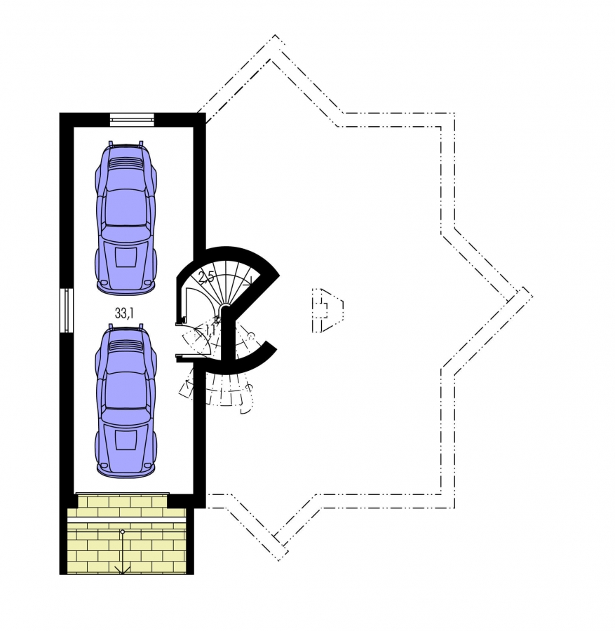 Pôdorys Suterénu - Moderný rodinný dom s garážou v suteréne.