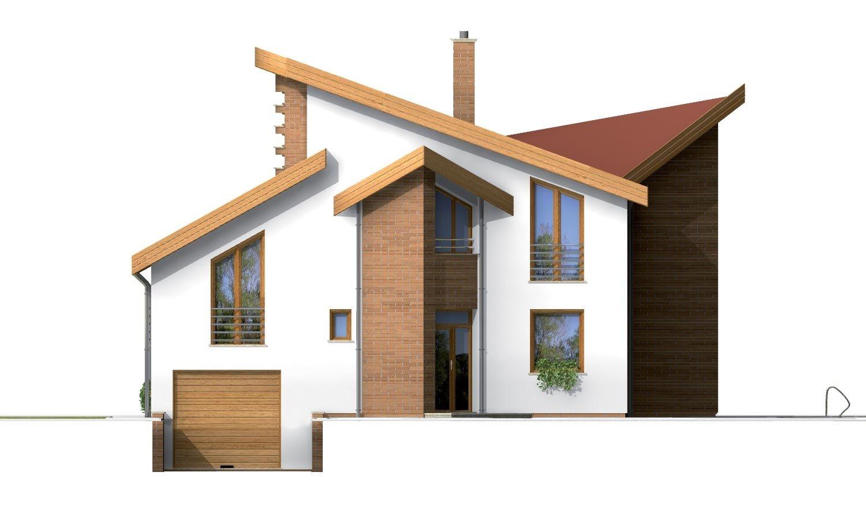 Pohľad 1. - Moderný rodinný dom s garážou v suteréne.