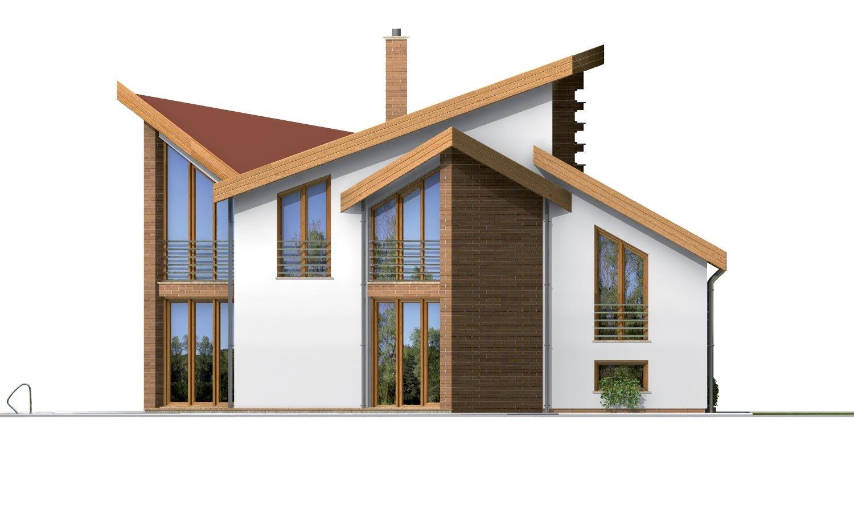 Pohľad 3. - Moderný rodinný dom s garážou v suteréne.
