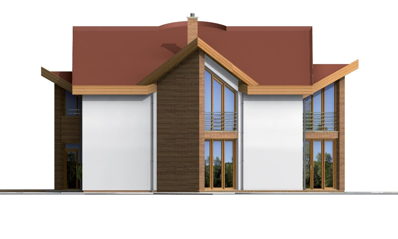 Pohľad 4. - Moderný rodinný dom s garážou v suteréne.