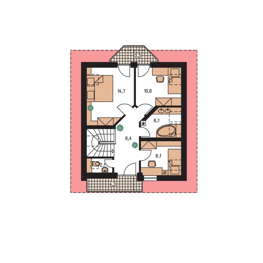 Pôdorys Poschodia - Menší dom vhodný aj na úzky pozemok