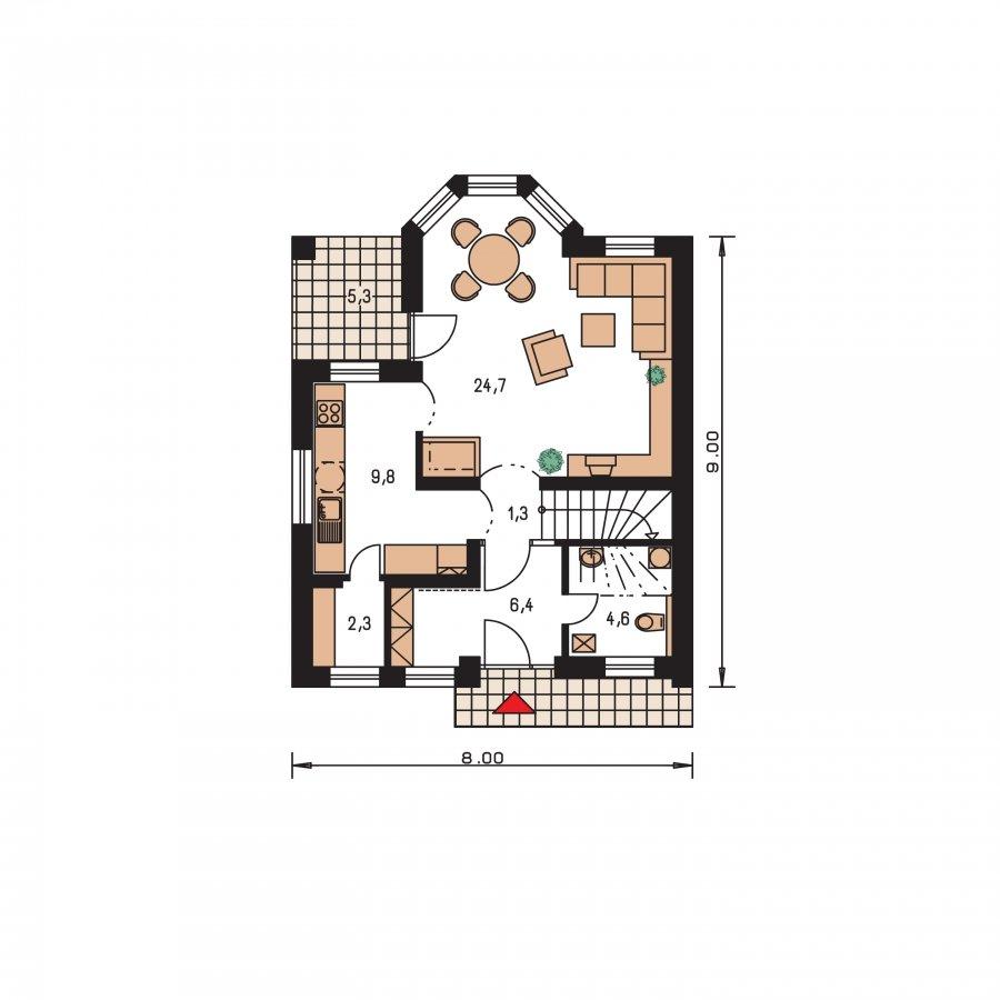 Pôdorys Prízemia - Menší dom vhodný aj na úzky pozemok