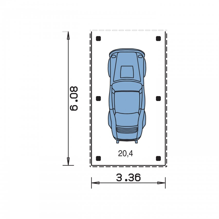 Pôdorys Prízemia - Prístrešok pre auto so sedlovou strechou