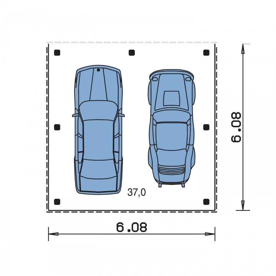 Pôdorys Prízemia - Projekt prístrešku pre dve autá