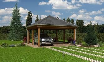 Prístrešok pre dve autá so stanovou strechou