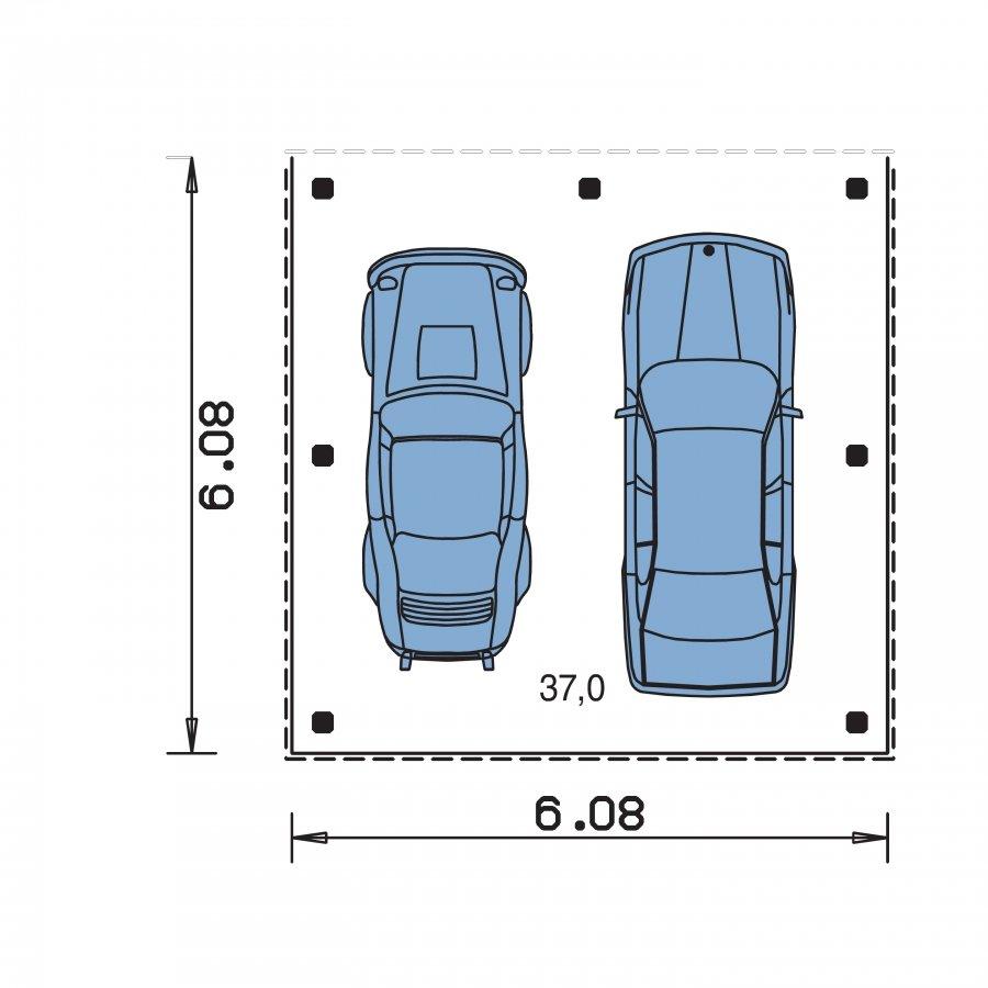 Pôdorys Prízemia - Prístrešok pre dve autá so stanovou strechou