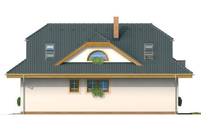 Pohľad 2. - Zaujímavý dom s obytným podkrovím a garážou.