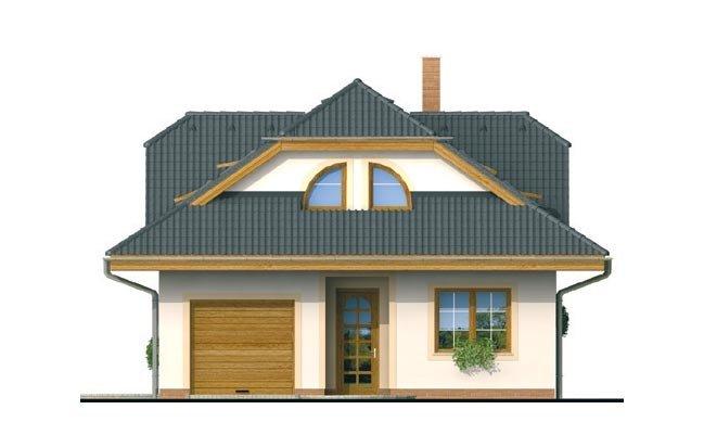 Pohľad 1. - Zaujímavý dom s obytným podkrovím a garážou.