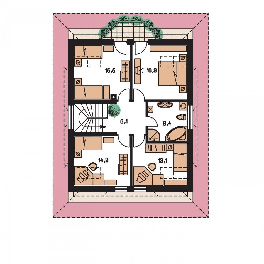 Pôdorys Poschodia - Zaujímavý dom s obytným podkrovím a garážou