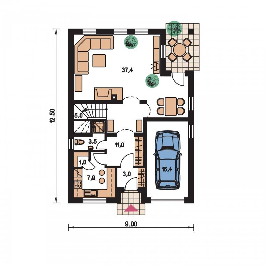 Pôdorys Prízemia - Zaujímavý dom s obytným podkrovím a garážou