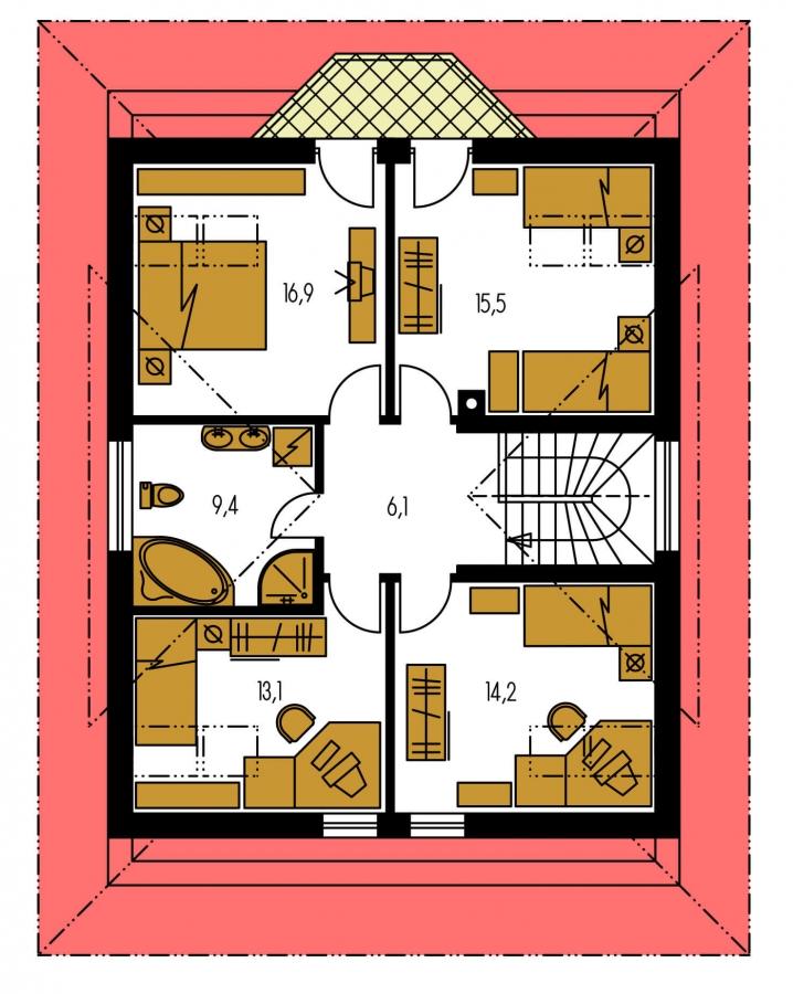 Pôdorys Poschodia - Zaujímavý dom s obytným podkrovím a garážou.