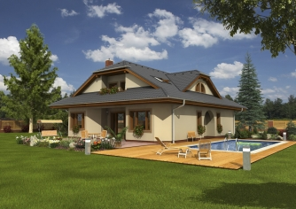 Priestranný rodinný dom s veľkým suterénom a garážou.