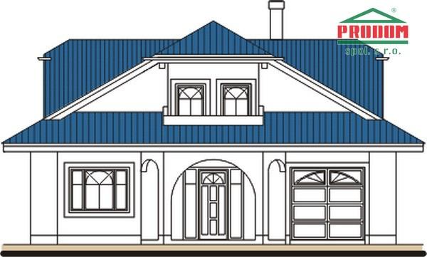 Pohľad 1. - Priestranný rodinný dom s veľkým suterénom a garážou.