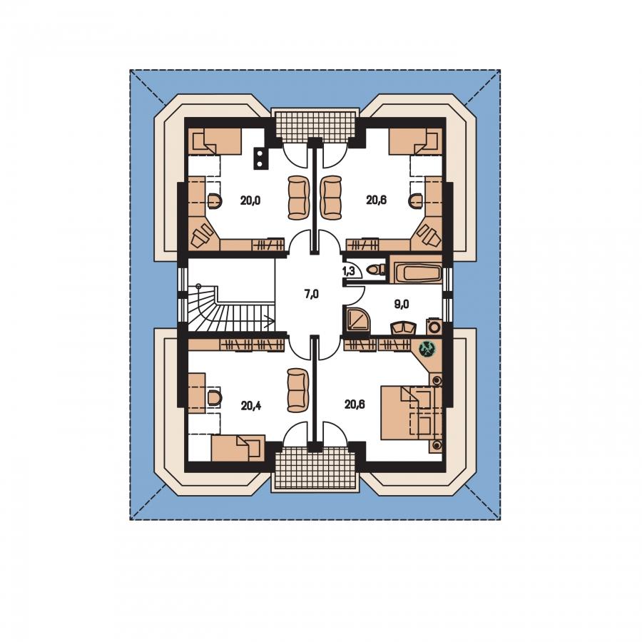 Pôdorys Poschodia - Priestranný rodinný dom s veľkým suterénom a garážou.