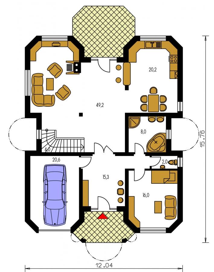 Pôdorys Prízemia - Priestranný rodinný dom s veľkým suterénom a garážou.