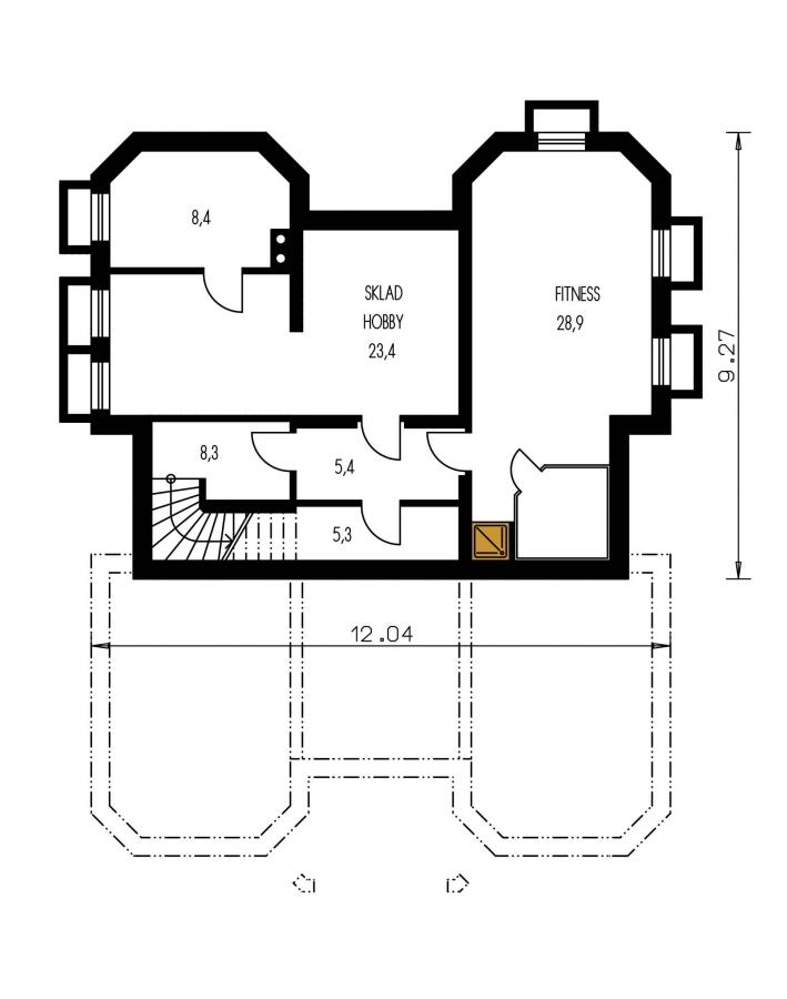 Pôdorys Suterénu - Priestranný rodinný dom s veľkým suterénom a garážou.