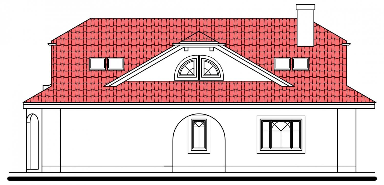 Pohľad 4. - Priestranný rodinný dom s veľkým suterénom a garážou.