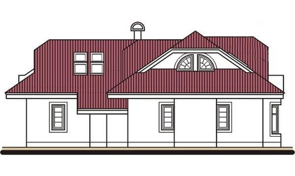 Pohľad 4. - Projekt domu s veľkou spálňou a dvojgarážou