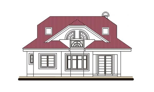 Pohľad 3. - Projekt domu s veľkou spálňou a dvojgarážou