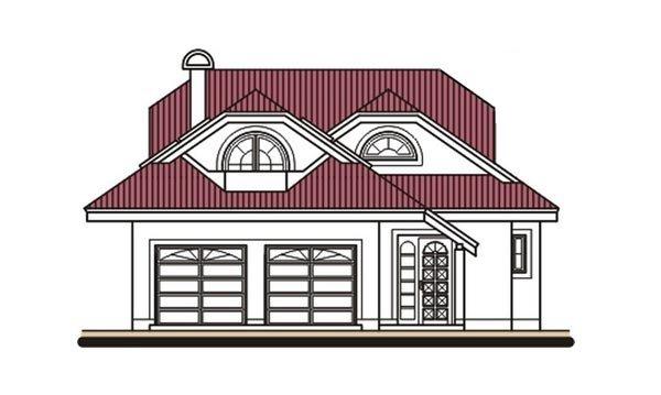 Pohľad 1. - Projekt domu s veľkou spálňou a dvojgarážou