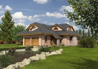 Projekt domu s veľkou spálňou a dvojgarážou.