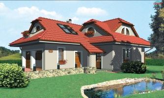 Projekt domu s veľkou spálňou a dvojgarážou