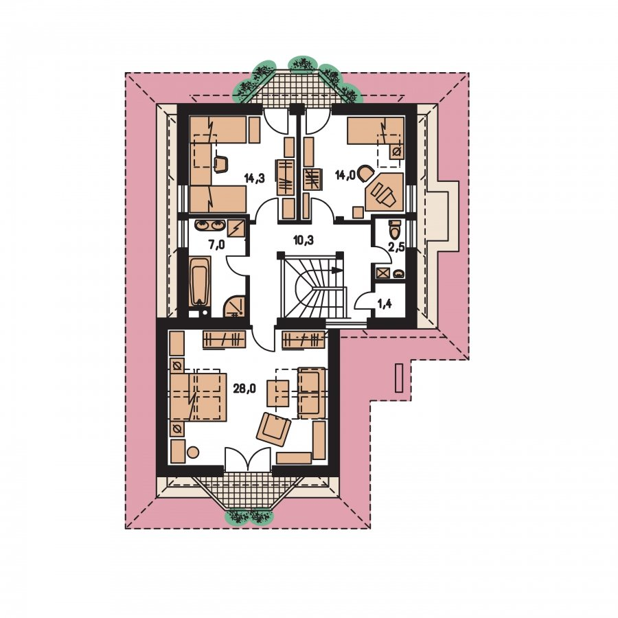 Pôdorys Poschodia - Projekt domu s veľkou spálňou a dvojgarážou